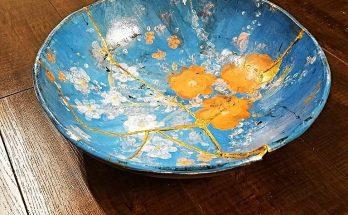 A broken bowl repaired using the kintsugi method