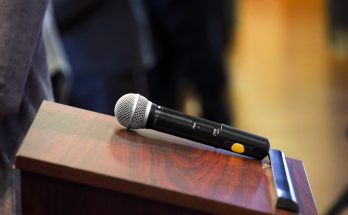 Microphone on lectern