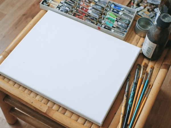 Blank canvas and paints