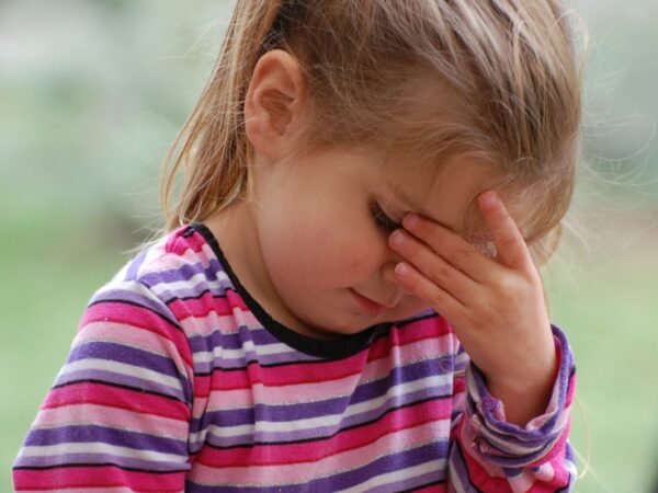 Frustrated or sad little girl