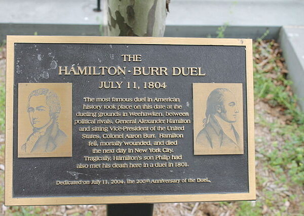 Sign at site of Hamilton & Burr duel
